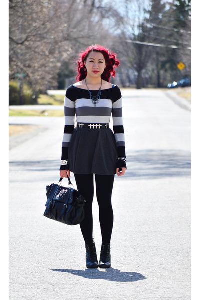black Call it Spring boots - heather gray garage sweater - black Ebay bag