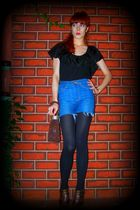 blue Levis shorts - black Mother Maria top - black tights - brown
