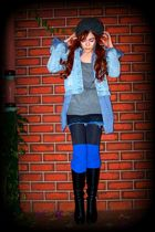 black boots - blue Levis shorts - blue jacket - black top - gray sweater - blue
