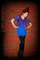 blue majestic dress - purple Aurelio Costarella cardigan - black tights - black