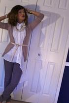 white stripe tank H&M top - camel cashmere J Crew cardigan
