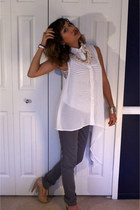 ivory striped tank H&M top - neutral J Crew necklace - ivory DESTRUCKED blouse