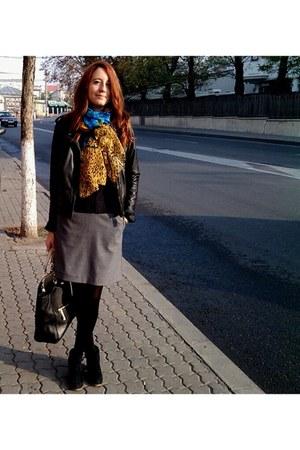 Bershka boots - pull&bear jacket - H&M skirt