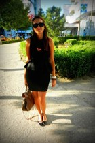 black Atmosphere dress - tan new look bag - black Zara flats