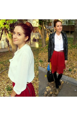 burgundy skirt - Bershka boots - vintage shirt - Zara bag - moa necklace