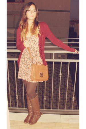 floral Bershka dress - Bata boots - brown Calzedonia tights - Rinascimento bag