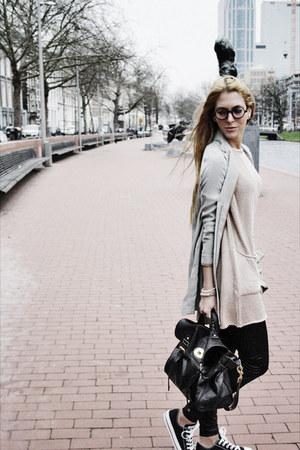 grey H&M blazer - knitted H&M cardigan
