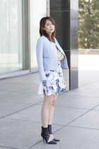 sky blue moto jacket Zara jacket - white floral cotton asos dress