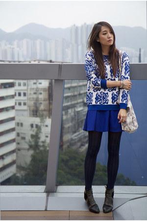 blue random from Hong Kong skirt - black gold studded Ebay boots