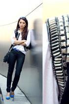 white sheer cotton H&M shirt - black cotton on jeans - black H&M bag