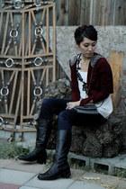 white Kimchi Blue shirt - black leather no brand boots - charcoal gray BCBG bag