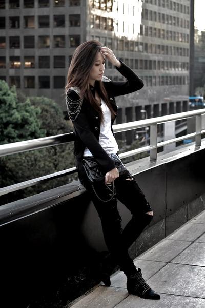 black Ebay boots - black Forever 21 jeans - black Ali Ro jacket