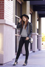 Black-paige-denim-jeans-black-wool-fedora-brixton-hat
