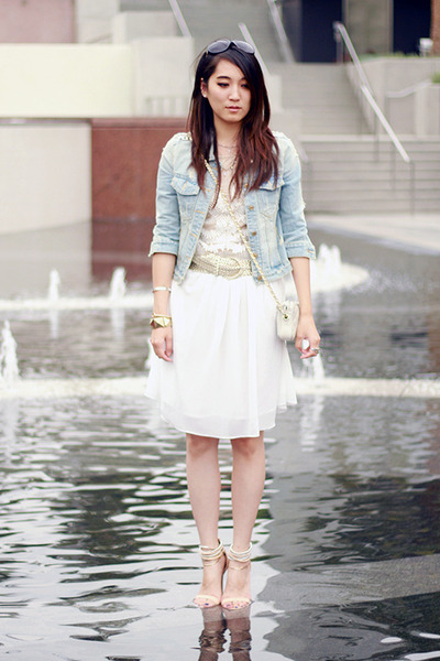 sky blue no brand jacket - white no brand dress - ivory no brand bag