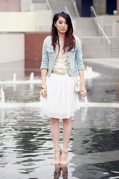 sky blue no brand jacket - white no brand dress - ivory no brand bag