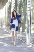 blue leather no brand jacket - blue asos skirt