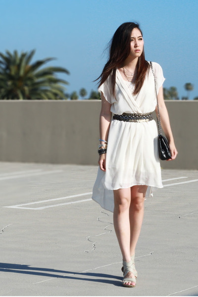 off white Forever 21 dress - black from mom bag - gray Urban Outfitters belt