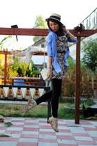 sky blue H&M shirt - beige floral pattern no brand dress - neutral no brand hat