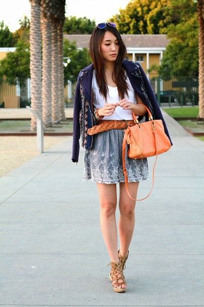 navy Zara jacket - orange Marc by Marc Jacobs bag - white cotton H&M t-shirt