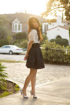 ivory Urban Outfitters top - black striped Betsey Johnson skirt