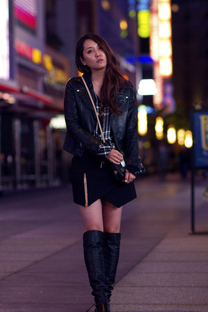 black stuart weitzman boots - black Rails shirt - black zipper Three Floor skirt