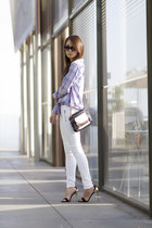 pink Rails shirt - white moto hudson jeans jeans - black leather botkier bag