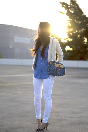 cream twill mix blend H&M blazer - white moto Hudson jeans