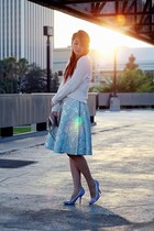 light blue Prada skirt - ivory H&M sweater - silver Zara bag