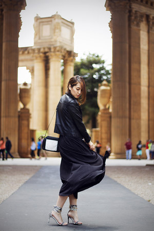 black maxi dress Target dress - black leather moto no brand jacket