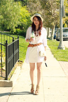 white B44 Dressed dress - white fedora Forever 21 hat - white no brand shirt