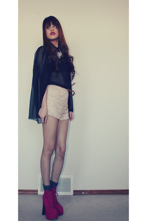 jc dupe GoJane shoes - Urban Outfitters shorts - sheer from hongkong top
