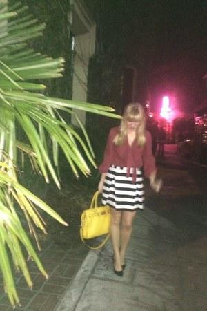 black Forever 21 skirt - gold Michael Kors purse - red blouse