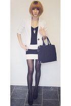 black and white GinaTricot skirt - GinaTricot bag