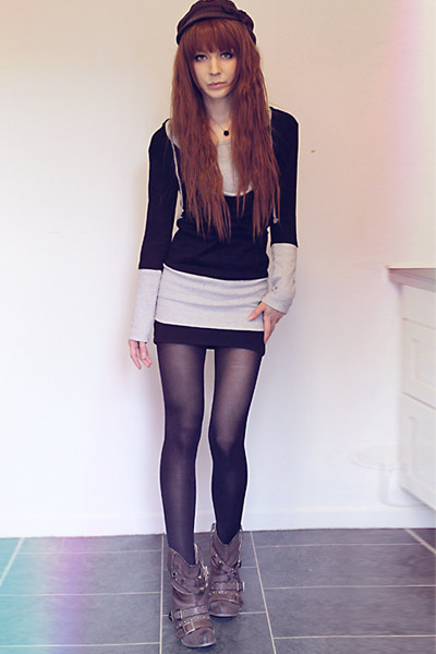 black sweater - silver sweater - dark brown boots