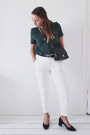 white crispy white Zara pants - black snake print Zara bag