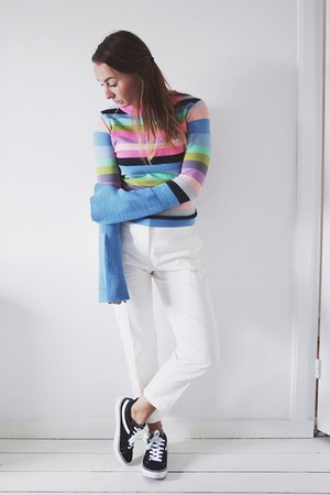periwinkle stripes asos sweater - white white H&M pants