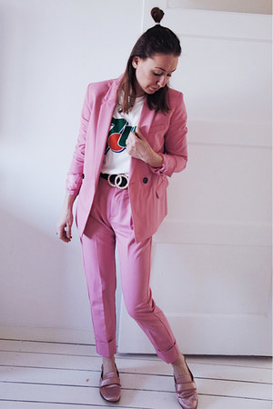 bubble gum suit Bershka blazer - bubble gum suit Bershka pants