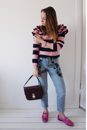bubble gum ruffles stripes asos sweater - sky blue embroidered Topshop jeans