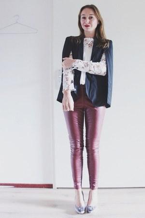 black cape Sheinside blazer - white crochet Sheinside top