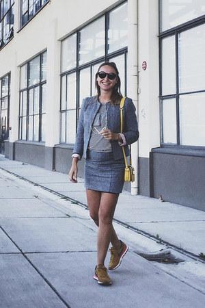 charcoal gray tweed two piece Zara blazer
