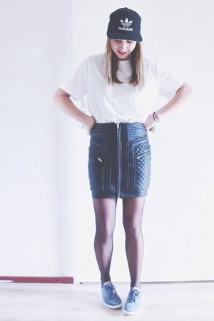 black cap Adidas hat - white basic weekday t-shirt - black quilted Nelly skirt