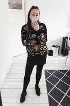 black embroidered zaful jumper
