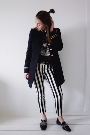 black striped Mango pants - navy military blazer Zara blazer