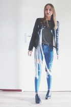 black leather Zara jacket - black ankle boots Senso boots