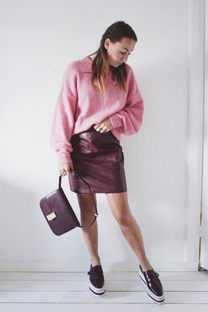 brick red faux leather Boohoo skirt - brick red box bag Jessica Buurman bag