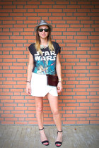 white asymmetric Zara skirt - silver shiny Shoeby hat - brick red vintage bag