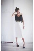 black Zara top - mustard gold H&M belt - white Zara skirt