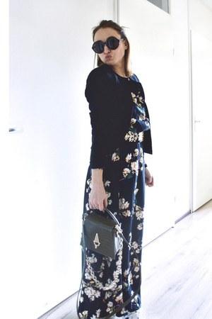navy floral maxi shein dress - navy thrifted vintage blazer