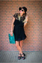 black Chicwish dress - black wool Missguided hat