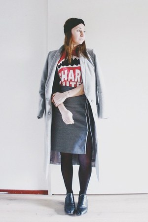 heather gray wool homemade skirt - black ankle boots Senso boots